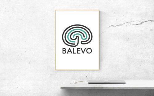 Bild på Balevo-logga och dator